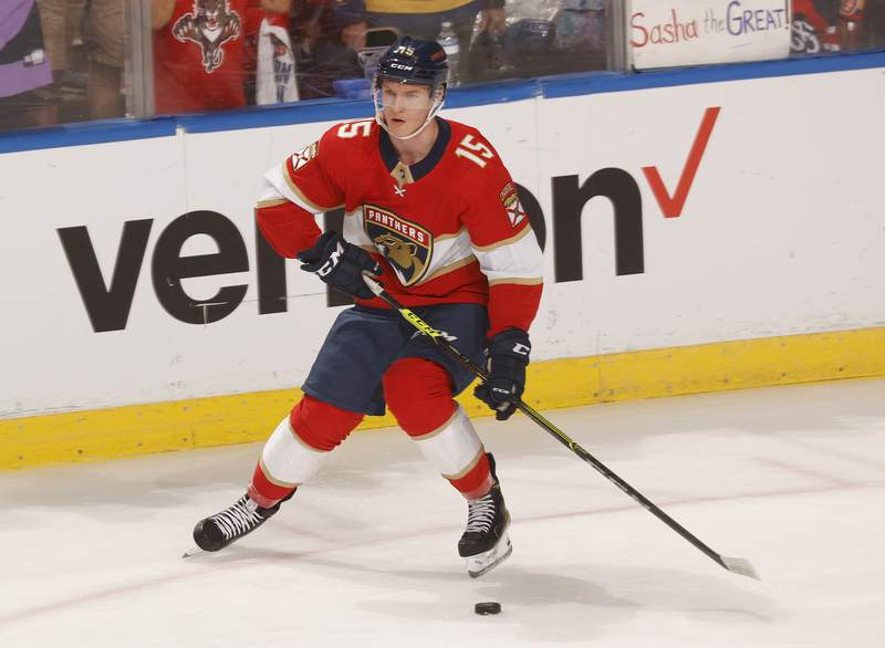 Anton Lundell of the Florida Panthers skates prior to an NHL preseason game against the Tampa Bay Lightning at the FLA Live Arena on October 9, 2021 in Sunrise, Florida.