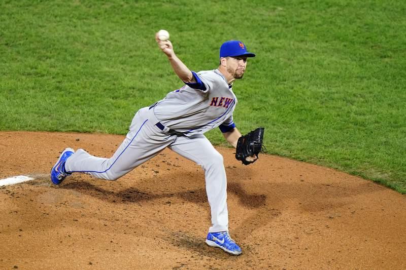 New York Mets' Jacob deGrom pitches during the second inning of a baseball game against the Philadelphia Phillies, Wednesday, Sept. 16, 2020, in Philadelphia. (AP Photo/Matt Slocum)