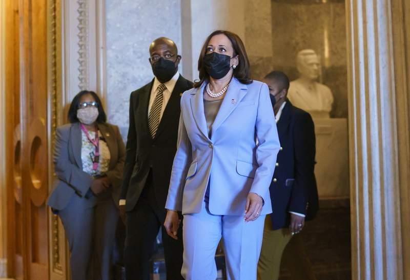 La vicepresidenta Kamala Harris en Washington el 2 de agosto del 2021. (Foto AP/J. Scott Applewhite)