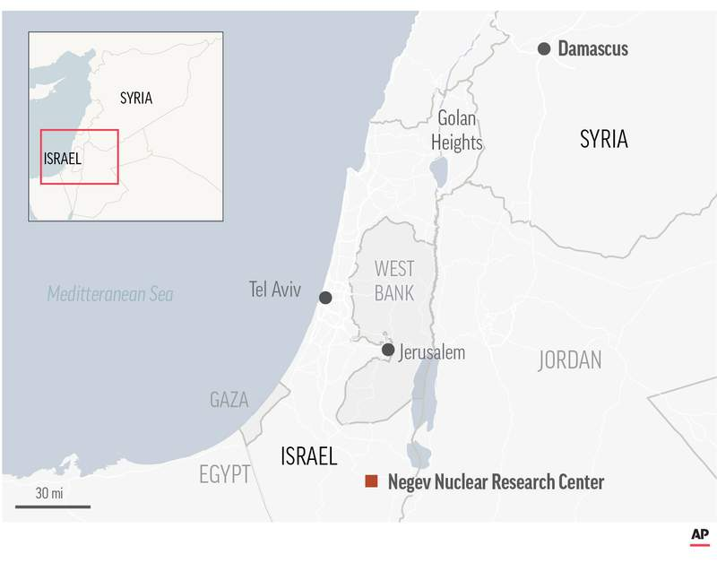 Map locates Negev Nuclear Research Center