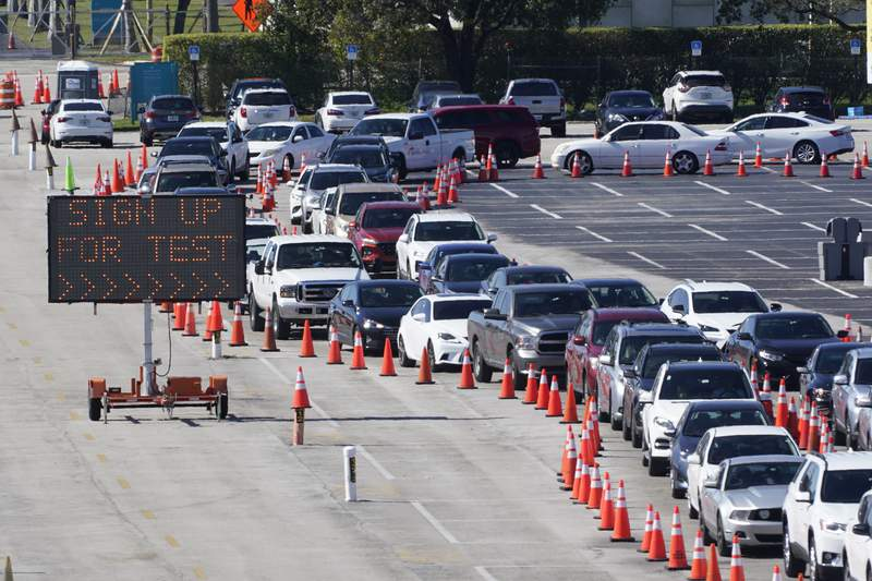 Cars line up for COVID-19 testing, Tuesday, Jan. 5, 2021, outside Hard Rock Stadium in Miami Gardens, Fla. (AP Photo/Wilfredo Lee)