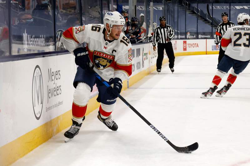 Aleksander Barkov of the Florida Panthers controls the puck during the game against the Columbus Blue Jackets at Nationwide Arena on January 26, 2021 in Columbus, Ohio. Florida defeated Columbus 4-3 in a shootout.