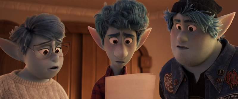 """In this image released by Disney/Pixar, characters Laurel, voiced by Julia Louis-Dreyfus, from left, Ian, voiced by Tom Holland, and Barley, voiced by Chris Pratt, appear in a scene from """"Onward."""" (Disney/Pixar via AP)"""
