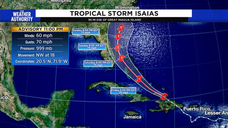 Thursday 11 pm track from the NHC
