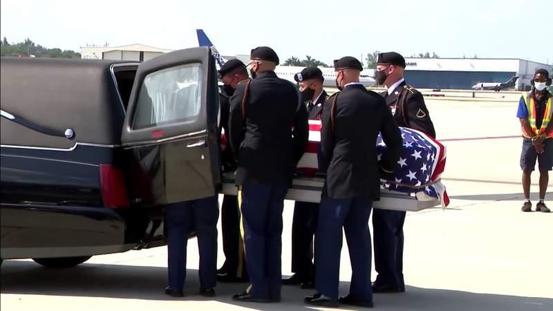 Slain Army Sgt. 1st Class John Jean's closed casket arrives at Fort Lauderdale