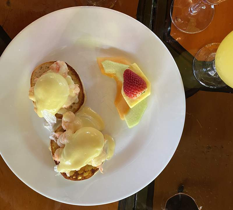 Lobster Eggs Benedict at Blue Heaven in Key West, Photo by Nicole Lopez-Alvar.