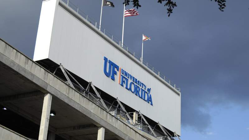 A sign on top of the stadium as the Florida Gators host the LSU Tigers at Ben Hill Griffin Stadium on October 11, 2008 in Gainesville, Florida.