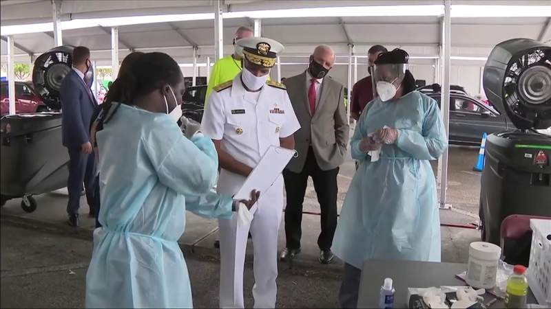 U.S. Surgeon General visits Miami-Dade, checks out federal testing sites