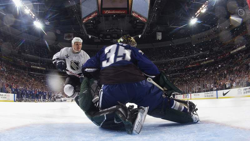 Olli Jokinen of the Eastern Conference hits the goal post in the shootout against goaltender Marty Turco of the Western Conference during the 53rd NHL All-Star game at the Office Depot Center on February 2, 2003 in Sunrise, Florida.