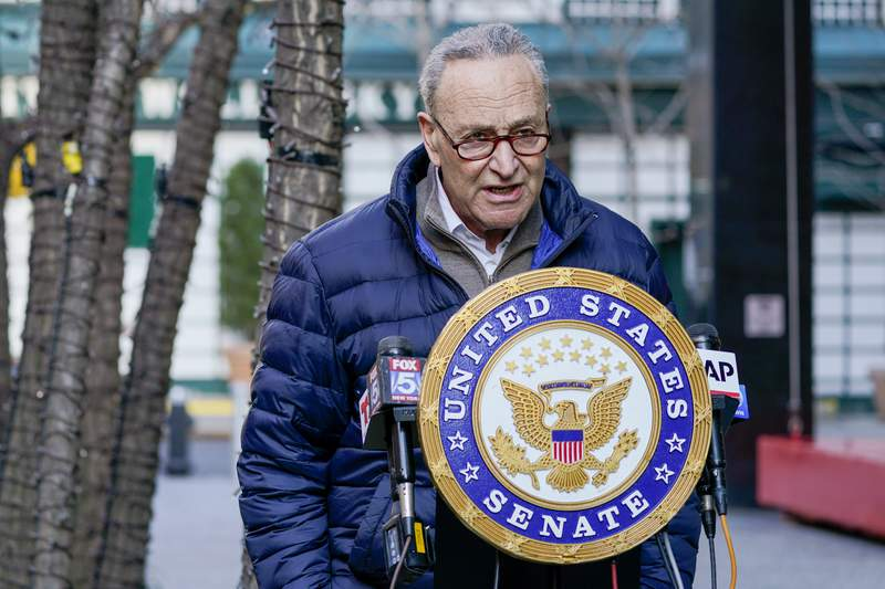 In this Jan. 12, 2021, photo, Senate Minority Leader Chuck Schumer, D-N.Y., speaks to reporters during a news conference in New York. (AP Photo/Mary Altaffer)