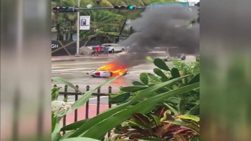 Scooter bursts into flames on Collins Avenue