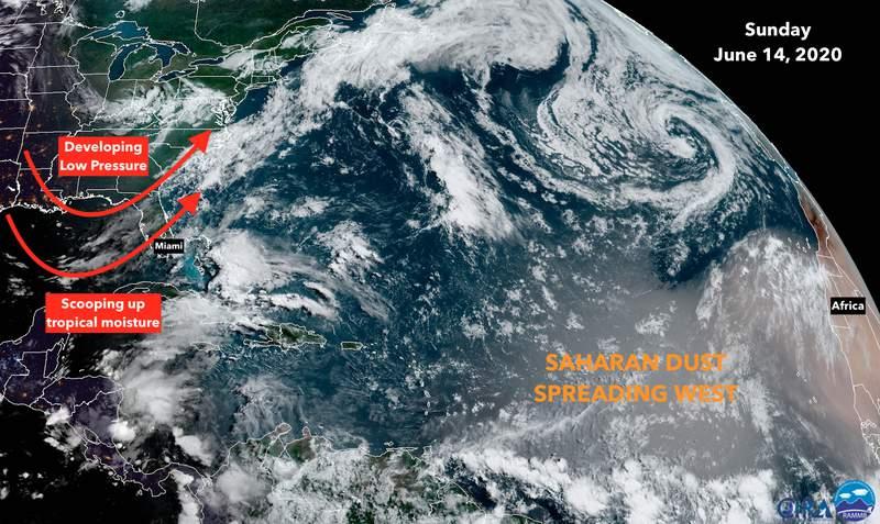 Satellite view of the Atlantic Ocean on Sunday, June 14.