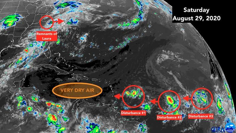 Satellite map of Atlantic Ocean on Saturday, Aug. 29.