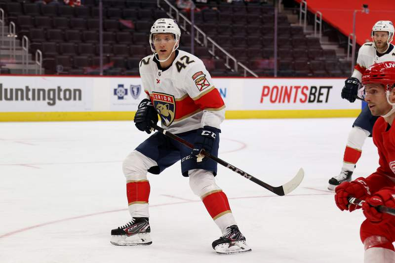 Gustav Forsling of the Florida Panthers skates against the Detroit Red Wings at Little Caesars Arena on February 19, 2021 in Detroit, Michigan.