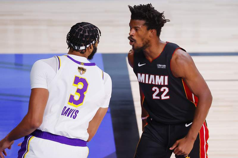 Jimmy Butler of the Miami Heat reacts during the first half against the Los Angeles Lakers in Game 3 of the NBA Finals at AdventHealth Arena on Sunday night.
