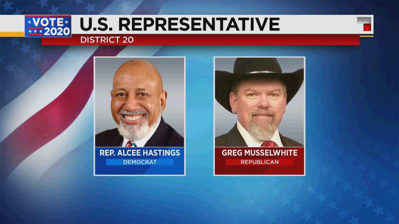 Incumbent Alcee Hastings will maintain Florida's 20th Congressional District.