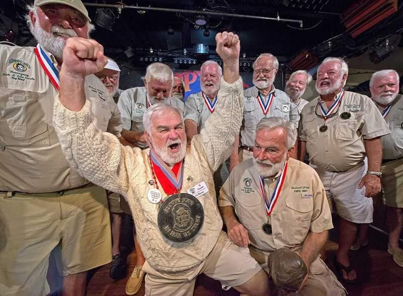 """Past winners of the """"Papa"""" Hemingway Look-Alike contest in Key West."""